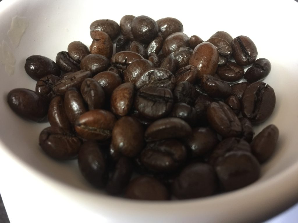coffee beans in a wax burner